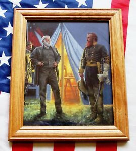 Civil War Print. Confederates Robert E Lee and JEB Stuart. Gettysburg, 1863