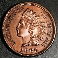 1886 INDIAN HEAD CENT - With LIBERTY & 4 DIAMONDS - AU UNC  - T2 Type 2