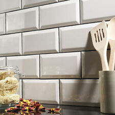 Sample of gloss cream metro bevelled edge ceramic wall tiles 10 x 20cm