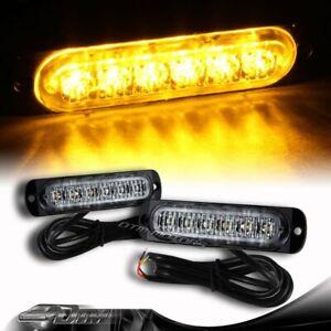 2X Super Bright 6-LED Amber Car Emergency Flash Beacon Strobe Light Universal 4