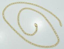 18K Yellow Gold Hefty Rope Bordered Mariner Link 24 Inch Necklace Chain B2466