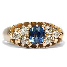 Datée 1903: Ancien Saphir & Diamant Bague dans 750 or bague de fiançailles Edwardian