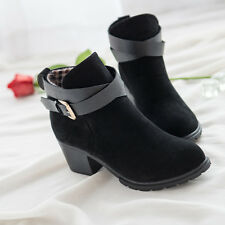 @Women Low Heel Short Ankle Boots Winter Martin Snow Heels Boot Shoes*38 BK