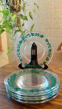 6 Fire King Pyrex Forest Green Glass Gooseberry Plates Dessert Plates