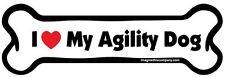 "Dog Magnetic Car Decal, Bone Shaped, I Love My Agility Dog, Made in USA, 7"""