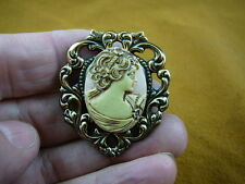 (Cs32-9) Woman Flowers pink Cameo Pin Pendant Jewelry brooch Wow