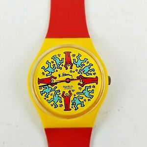 Swatch Watch Keith Haring 1985 Modele Avec Personnages SEE VIDEO