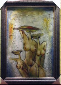 "Abstraktes Ölgemälde, Ölbild Nackte Frau ""Tazen Nackt""Neu mit Rahmen80x110 cm"