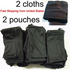 4 Piece Sunglasses Case Black Microfiber Soft 2 Pouches  & 2 Cleaning Cloths