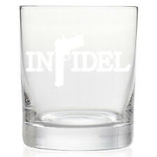 INFIDEL CUSTOM ETCHED 11 OZ ROCK GLASS GLASSWARE KITCHEN BAR (GIN-01)