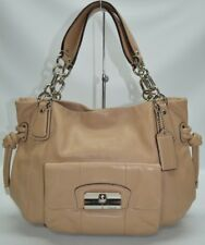 Coach Kristin Tan Nude Leather Front Pocket Chain Straps Satchel Tote Bag 14758