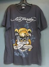 Ed Hardy Death Before Dishonor Women's Grey Military Shirt Size L