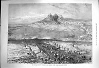 Original Old Antique Print 1873 Russian Expedition Khiva Siers Crossing 19th