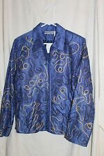 Blue Festive Jacket, 100% Handwoven Silk, Gold Embroided, Size L, Lined, NWT