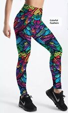 Leggings Yoga Pants 3D Printed Colourful Feathers 🔥Hot Seller🔥