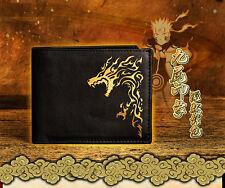 NARUTO Uzumaki Naruto Kurama Kyuubi PU Black Bifold Wallet Purse Cards Bag Gift