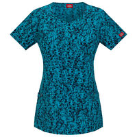 Dickies Women's Print Scrub Top 85936 STTA Medical Mock Wrap Sizes 2XS to XL