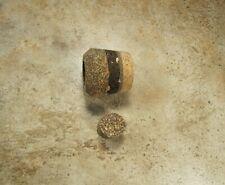 Fighting butt 1 3/16 long Dark Mix, Natural Burl Rubberized trim ring