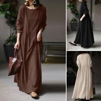 ZANZEA 8-24 Women Full Length Cotton Kaftan Caftan Abaya Long Sleeve Maxi Dress