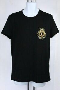 Balmain Paris Embroidered Logo Cotton Mens T-shirt Black UK Size M