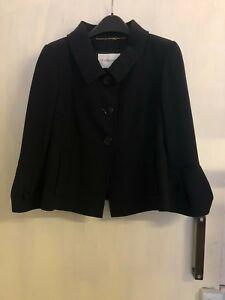 Ex L.K.Branded Wool Blend Button Front Black Short Jacket Size 10 (OR)