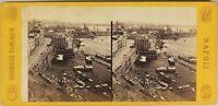 Italia Napoli Il Port c1865 Foto Stereo Sommer Vintage Albumina