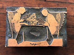 Antique Letterpress Copper Printing Block - Silhouette Man & Woman at Restaurant