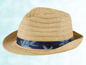 New Boys Straw Trilby Hat Printed Blue Band Kids Summer Holiday Fedora Sun Hat