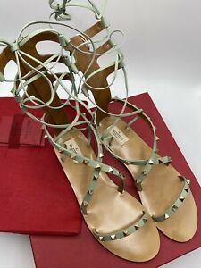 Valentino Rockstud Green Leather  Gladiator Sandals / New / Size 7 / RRP:£810