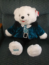 "2016 SNOWFLAKE TEDDY BEAR BOY WHITE WITH BLUE & BLACK TUX SILVER BOWTIE 20"" NWT"