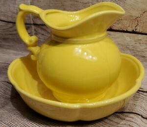"Vintage McCoy 7528 Yellow 5"" Pitcher and Bowl/ Wash Basin w Original Box"