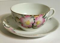 Vintage Noritake Rose Tea Cup and Saucer Set Japan