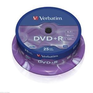 VERBATIM DVD+R RECORDABLE MEDIA 25 PACK SPINDLE CAKE / 16X SPEED / 4.7GB