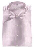 Geoffrey Beene White & Purple Striped Wrinkle Free Cotton Blend Dress Shirt