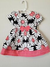 Gymboree Kitty In Pink 6-12 Months Euc Floral Daisy Dress Black White Baby Girl