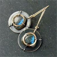Fashion 925 Silver Moonstone Earrings Ear Hook Dangle Women Wedding Jewelry