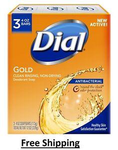 Dial Antibacterial Deodorant Bar Soap, 4, 3 Bars Gold Gold 12 Ounce