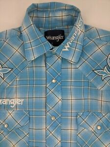 Wrangler Long Sleeve Pearl Snap Plaid Rodeo Shirt SMALL