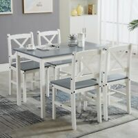 Classic Solid Wooden Dining Table and 4 Chairs Set Kitchen Home