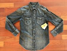 NWT Polo Ralph Lauren Black Label Western Pearl Snap Shirt Small 38 $128