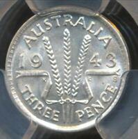 Australia, 1943(s) Threepence, 3d, George VI (Silver) - PCGS MS63 (Ch-Unc)