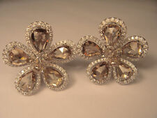 Exquisite 18K White Gold Rose Cut Champagne Diamond Floral Earrings