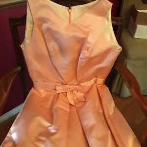 VTG 1960s Dress Coat Set Peach Satin Bow Waist Sleeveless Queen's Gambit Style