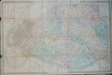 """""""PLAN DE PARIS 1884"""" Carte originale entoilée Litho E.ANDRIVEAU-GOUJON 155x105cm"""