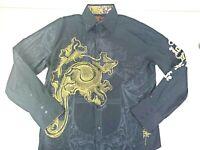 Rebel Spirit Mens Long Sleeve Black Embroidered Button Front Skull Shirt 2XL