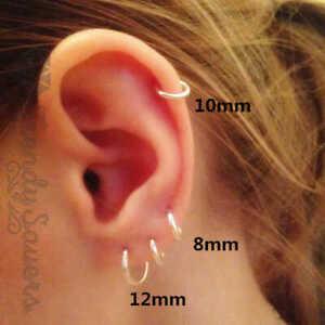100% 925 Sterling Silver Women Simple Ear Bone Buckle Huggie Hoop Earrings