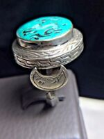 Antique Blue Turquoise Intaglio Roman Dragon Crescent moon Sterling silver Ring