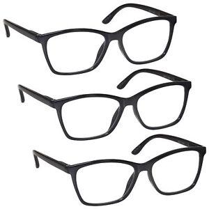 3 Packs Mens Large Designer Style Reading Glasses Spring Hinges UV Reader RRR51