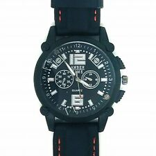 AMBERTIME Mens Oversized Sports Watch Black / White & Red Detail