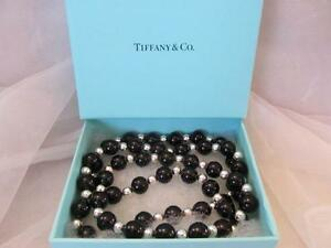 """Vintage Tiffany & Co. Black Onyx & Sterling Silver Long Bead Necklace 30"""""""